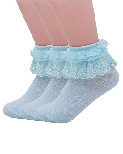 Light Blue Sock - YASIDI Women Socks, Comfortable No-Show Cotton Ankle lace Socks Solid Color (3 Pairs, Light Blue)