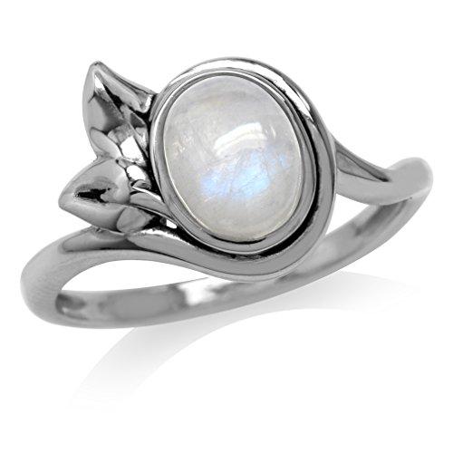 Natural Oval Shape Moonstone 925 Sterling Silver Leaf Ring Size (Oval Leaf Ring)
