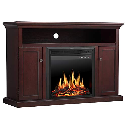 "Fireplace Stand Brick (JAMFLY Wood Electric Fireplace Mantel TV Stand Package up to 55"" TV, Media Fireplace Console with Remote Control, LED Touch Screen and Multicolor Flames 750/1500W Dark Espresso Finish)"