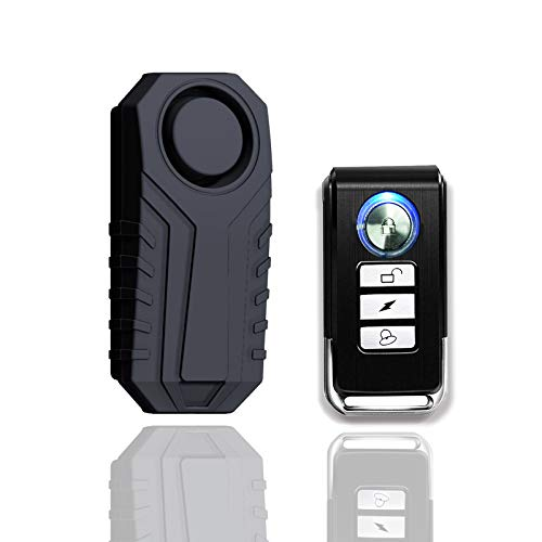 KCMYTONER 1 Pack 113dB Wireless Anti-Theft Vibration Waterproof Security Cycling Bike Alarm Motorcycle Bicycle Alarm with Remote Control