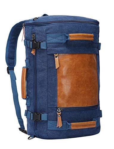 WITZMAN Men Vintage Canvas Rucksack Travel Duffel Backpack Retro Hiking Bag 2033 (19 inch Blue)