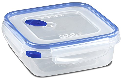 Sterilite 03314706 Ultra Seal 4.0 Cup Square Food Storage Container, Clear and Blue