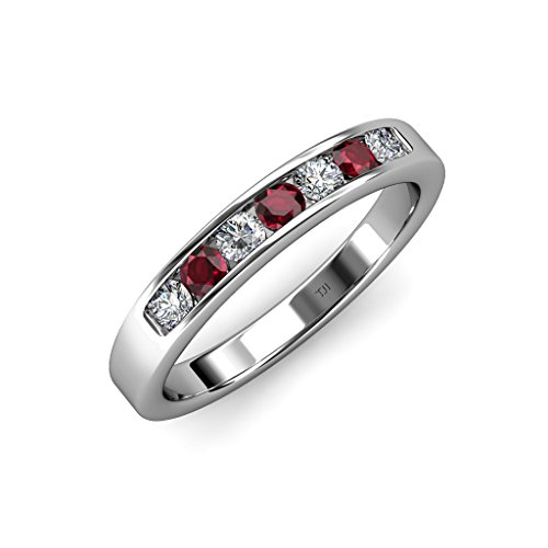 Diamond Channel Stone Ring (Ruby and Diamond (SI2-I1, G-H) 7 Stone Channel Set Wedding Band 0.72 ct tw in 14K White Gold.size 6)