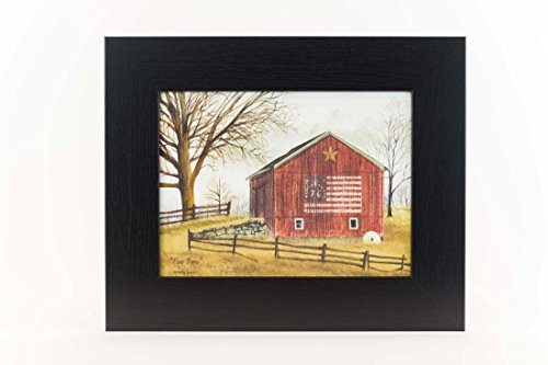 Americana Framed (Flag Barn Americana Red White Blue Country Billy Jacobs Framed Art Decor 13x16