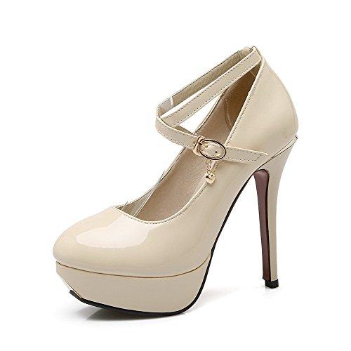 VogueZone009 Damen Lackleder Schnalle Rund Zehe Hoher Absatz Rein Pumps Schuhe Cremefarben