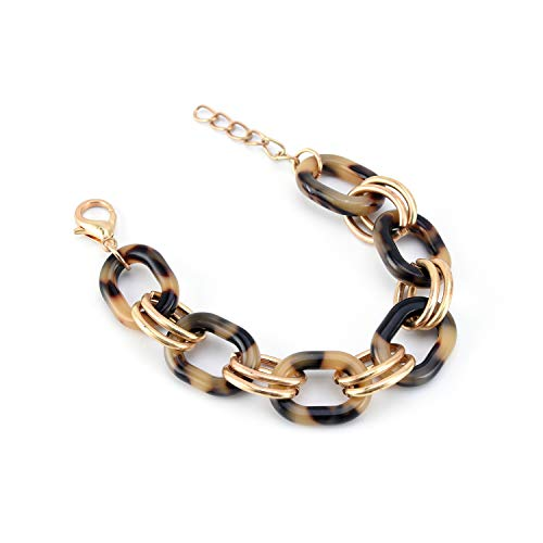 Allison Rose Atelier Acrylic Tortoise shell Oval Chain Link Bracelet - Fashion Jewelry for Women 18ct Gold Plated Iron Rings. - For Everyday and Special Occasions.