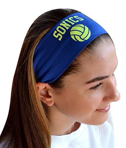 (Design Your Own Personalized VOLLEYBALL Cotton Stretch Headband with GLITTER Text And CUSTOM Name)