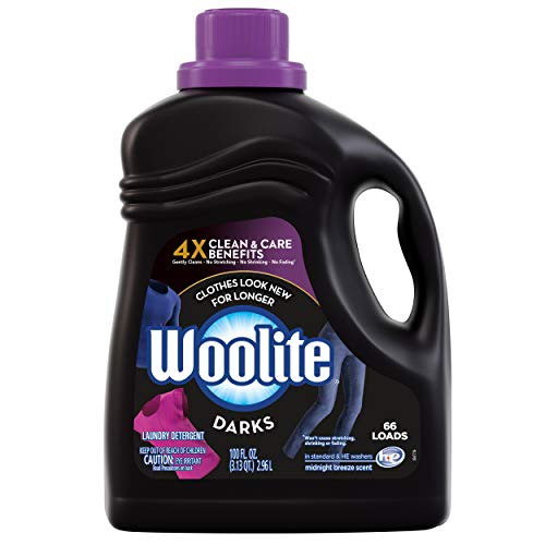 Woolite DARKS Liquid Laundry Detergent, 66 Loads, 100oz, Regular & HE Washers, Dark & Black Clothes & Jeans, midnight breeze scent, packaging may vary (Best Detergent For Black Clothes)