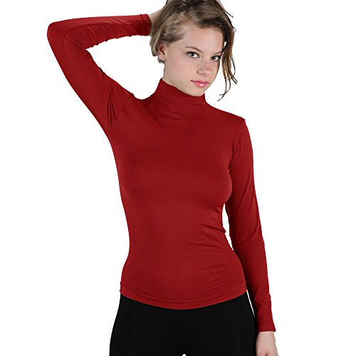 Soft Long Sleeve Polo Mock Turtleneck T-Shirt Stretch Top XS-L (Red) (Red Shirt Turtleneck)