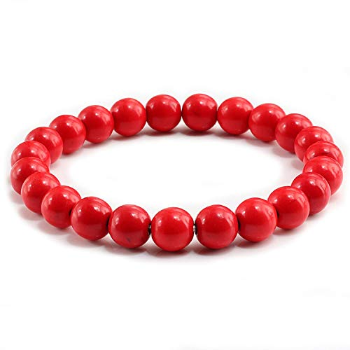 tthappy76 Colorful Elastic Buddha Prayer Handmade Natural Stone Beads Bracelets & Bangles Charm Fashion Jewelry for Lovers Women Men,Red