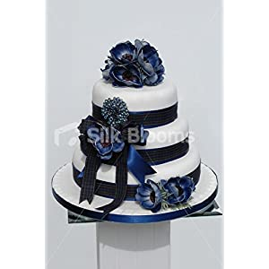 Scottish Real Touch Blue Anemone Poppy Wedding Cake Topper 4