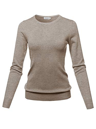 Solid Basic Viscose Nylon Crew Neck Sweater Top Camel Size M