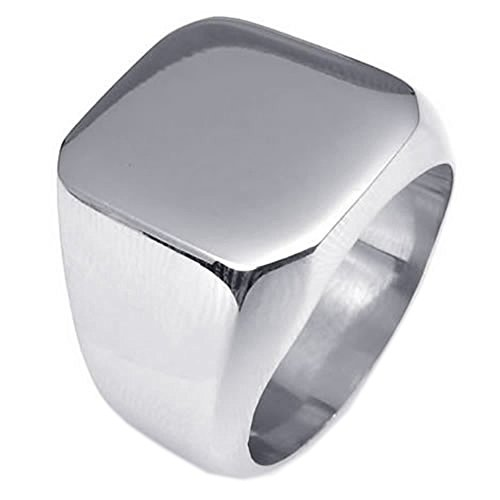 KONOV Polished Stainless Steel Band Biker Men's Signet Ring, Color Silver - Size 13