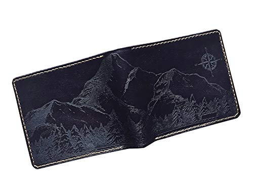 Unik4art - Mountain leather custom men wallet, engraving wallet, birthday wedding gifts idea - 1BL