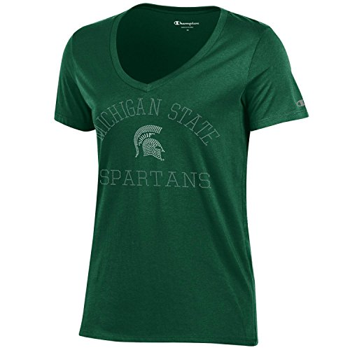 Champion NCAA Michigan State Spartans Women's University Short sleeve V-Neck T-Shirt, Large, Dark (Michigan State University Shorts)
