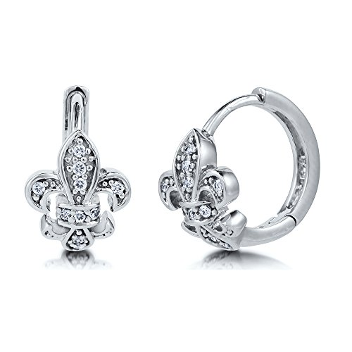 BERRICLE Rhodium Plated Sterling Silver Cubic Zirconia CZ Fleur De Lis Small Fashion Hoop Huggie Earrings 0.5