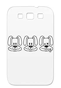 TPU Black Case Cover For Sumsang Galaxy S3 Fun Art Design Drunk Friends Rabbits Dogs Party Crew Team Miscellaneous Alcohol One Dead Bunny
