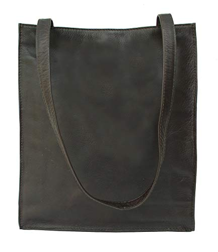 (Piel Custom Personalized Leather Open Market Bag in Chocolate )