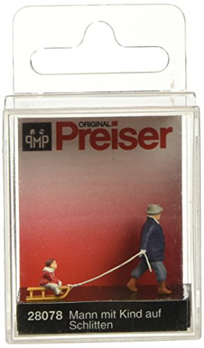 - Preiser 28078 Individual Figures, Sports & Recreation Man Pulling Child on Sled HO Scale Figure