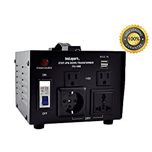 Instapark ITU-1000 Series Heavy-duty AC 110/220V Step Up / Down Voltage Transformer / Converter with US Standard, Universal, German/French Schuko AC Outlets - 1,000 Watt