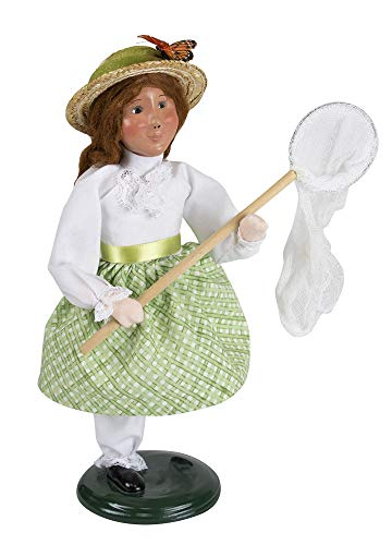Byers' Choice Girl Catching Butterflies Caroler Figurine #ZMS292G Limited Signed by Joyce Byers (New - Byers Choice Girl