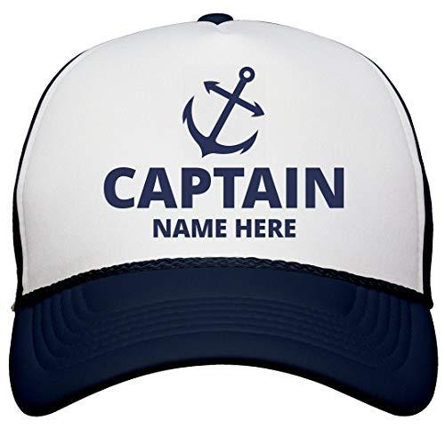 (Captain Custom Name Dad Gear: Snapback Trucker Hat White/Navy)