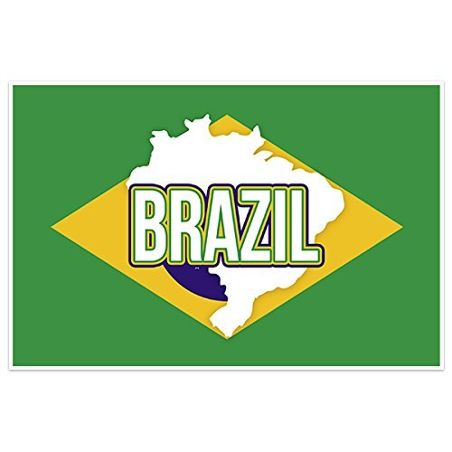 Brazil Flag With Country Text Wall Art - Shipping Brazil Usps