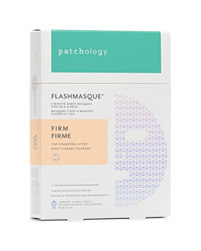 Patchology Firm FlashMasque Face & Neck Sheet Mask for Firmness, Elasticity - w/Peptides, Soy Protein - 4 Masks/Box