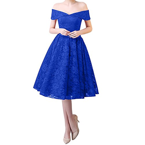 Ballkleider Blau Ausschnitt Rosa a Rock Spitze Dunkel Abendkleider Charmant Damen v Kurz Partykleider Royal Knielang Linie HRZzcBTwq