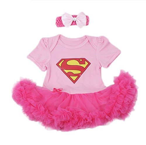 Costumes Super Dress Fancy (Baby's All in 1 Fancy Dress Halloween Christmas Princess Party Romper Suits (S (0-3 Months),)