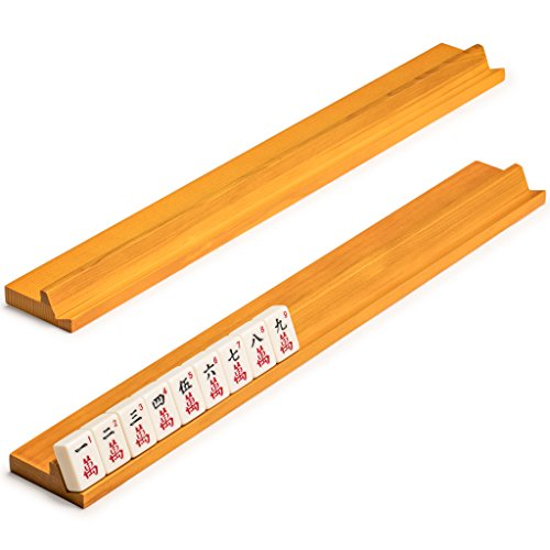 Yellow Mountain Imports Classic Wooden Mahjong (Mah Jong, Mahjongg, Mah-Jongg, Mah Jongg, Majiang) Racks, 18 Inches, Set of 4
