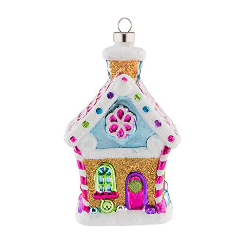 kat + annie Ornament Gingerbread House Pink, White, Gold ()