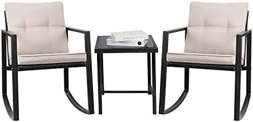 41s3y9tli5L. AC Greesum GS-3RRCSBG 3 Pieces Patio Furniture Set, Glass Coffee Table, Beige    Greesum 3 Pieces Rocking Patio Furniture Sets