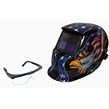 Instapark ADF Series GX-500S-SG Solar Powered Auto Darkening Welding Helmet USA with Adjustable Shade Range #9 - #13 & Safety Protective Goggles with Black Frame & Clear Lens
