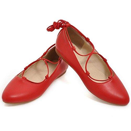 COOLCEPT Mujer Moda Tacon De Vaquero Encaje Planos Vestir Bombas Zapatos Rojo
