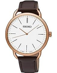 Seiko Womens 38.4mm Brown Leather Band Steel Case Hardlex Crystal Quartz White Dial Analog Watch SUR234