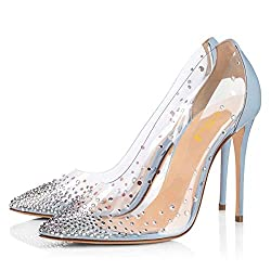 Light Blue Studded Pointed Toe Transparen Heels with Bowknot