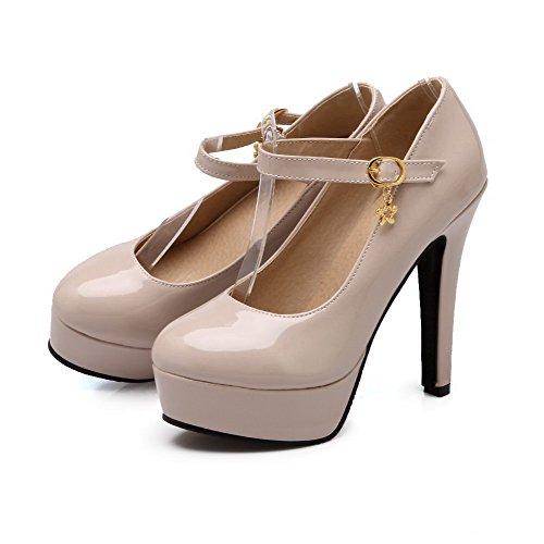 Amoonyfashion Femmes En Cuir Verni Solide Talons Hauts Boucle Fermée Bout Fermé Pompes-chaussures Abricot