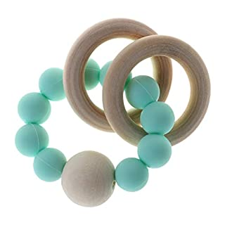 Youngy Baby Teether Bracelet Teething Toys Chew Bite Born Teeth Care Beads Jewelry Pain Relief Silicone Wood Rings Infant Supplies Multi-Functional - 4#