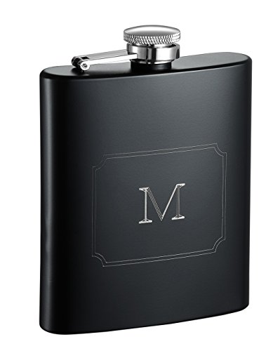 Visol Raven Personalized Flask with Initial Engraved, Monogram M, Black