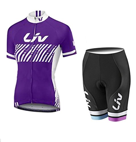 Bicycle Jersey Summer Women's Short Sleeve Cycling Jerseys and Bib Shorts Set Quick Drying Breathable Jersey Purple V12 (Purple Q, -