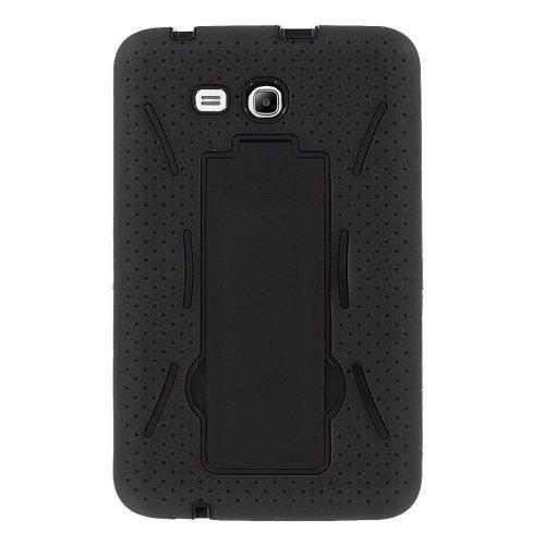 Galaxy Tab E 8.0 Case by KIQ (TM) Heavy Duty Hybrid Silicone Skin Hard Plastic Case Cover for Samsung Galaxy Tab E 8.0 T377 - Black / Black