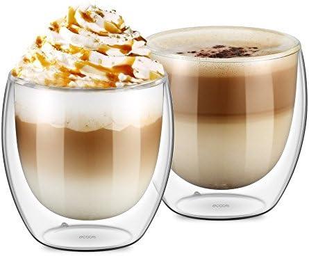 TouchLife Pack van 2 hittebestendige dubbelwandige gesoleerde glazen espressomokken Latte koffieglazenwhiskykoffiekopjethee mok250ml
