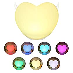 LK&smart Cute Heart Shaped Night Light, Soft Silicone Body, Touch Sensor Bedside Lamp Six Color Changing RGB, Portable and Rechargeable