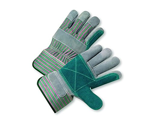 West Chester 450DP Green/Pink XL Split Cowhide Canvas/Leather Work Gloves - 10.38 in Length - 450DP/XL [PRICE is per DOZEN]