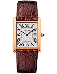 Tank Solo Silver Dial Brown Leather Strap Ladies Watch W5200025