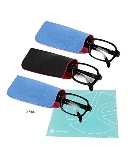 JAVOedge (3 PACK) 2 Tone Style Soft Pouch Eyeglass Storage Case w/ Microfiber Eyeglasses Cloth (2 x Black, 1 x - 1 2 Eyeglasses For