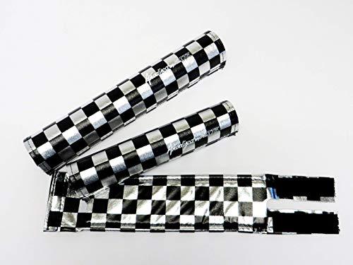 Flite Anodized Checkers BMX Pad Set (Black/Chrome) - Set Pad Bmx