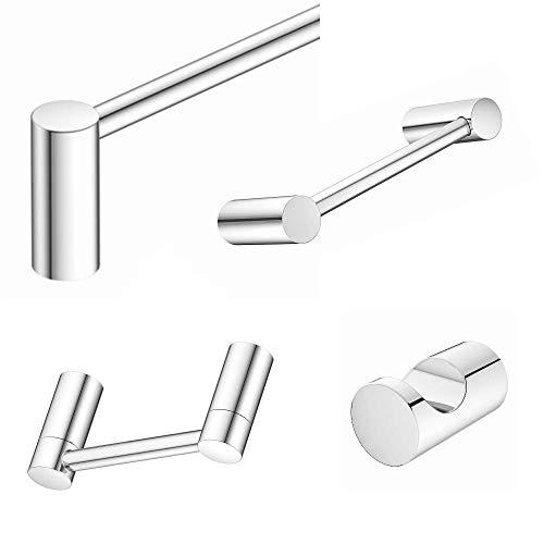 Wood Grip Aviano - Elegant Design 4-Piece Bathroom Hardware Accessory Set (Chrome Finish)