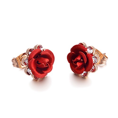 Yoursfs Filigree Earrings For Women Rose Flower Cage Shaped Leverback Earrings Bride Fashion Jewellery (Flower) (Rose Earrings Red)